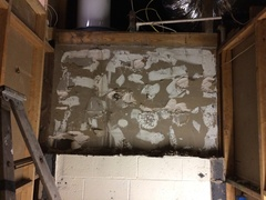 The bathroom sheetrock was glued to the block I removed.